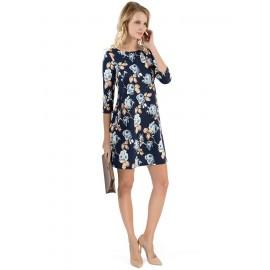 """Платье """"Лесли"""" т.синее с цветами  для беременных и кормящих"""