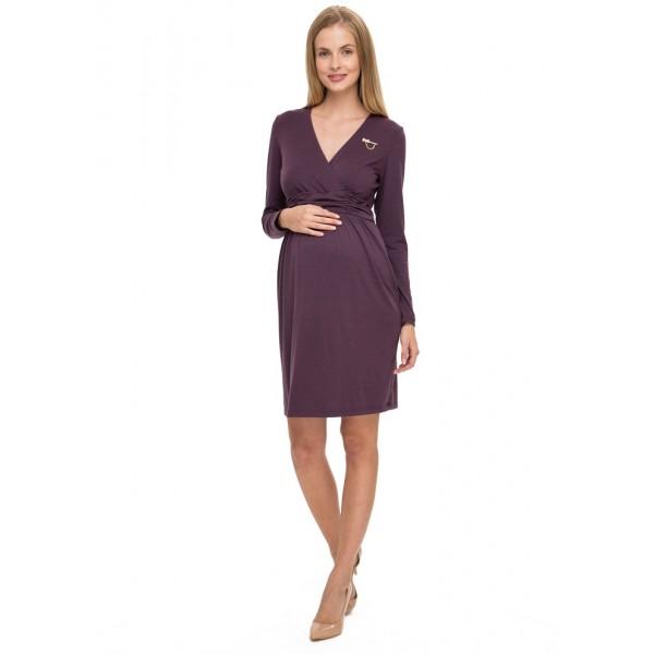 """Платье """"Жаннет"""" баклажановый меланж для беременных и кормящих"""