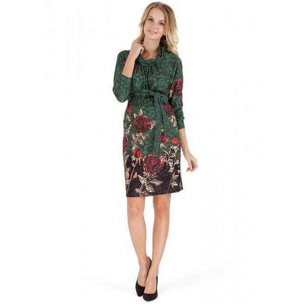 """Платье """"Элма"""" зеленое с цветами для беременных"""
