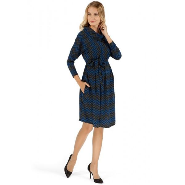 """Платье """"Лилиан"""" зиг-заг синий для беременных"""
