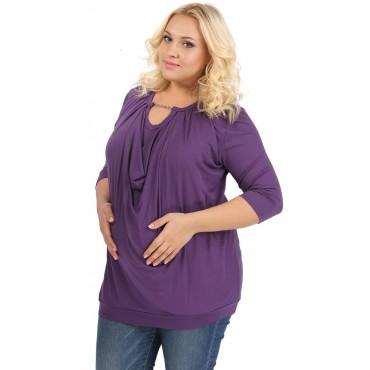 """Блуза """"ПБВ04"""" баклажан для беременных и кормящих мам"""
