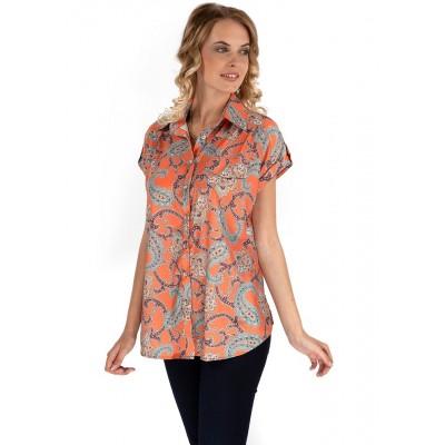 """Блуза """"Виргиния"""" оранжевая для беременных и кормящих"""