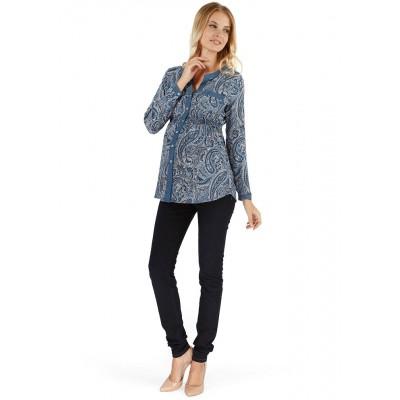 """Блуза """"Рига"""" синяя с пейсли для беременных и кормящих"""