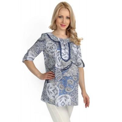 """Блуза """"Шарм"""" бело-голубая для беременных и кормящих"""