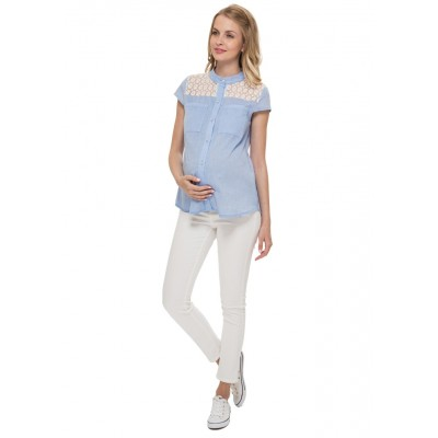"""Блуза """"Ханна"""" деним для беременных и кормящих"""
