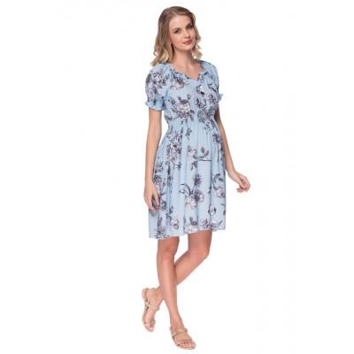 """Платье """"Шарлотта"""" голубое с цветами для беременных и кормящих"""