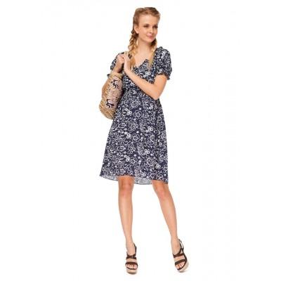 """Платье """"Шарлотта"""" синее с цветами для беременных и кормящих"""