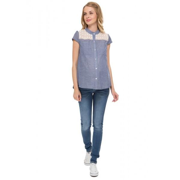 """Блуза """"Ханна"""" синяя для беременных и кормящих"""