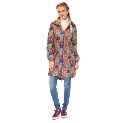 """Куртка демис. 3в1 """"Бритни"""" Узоры на фиолете для беременных и слингоношения"""