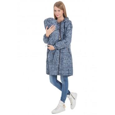 """Куртка демис. 3в1 """"Бритни"""" Клепки на синем для беременных и слингоношения"""