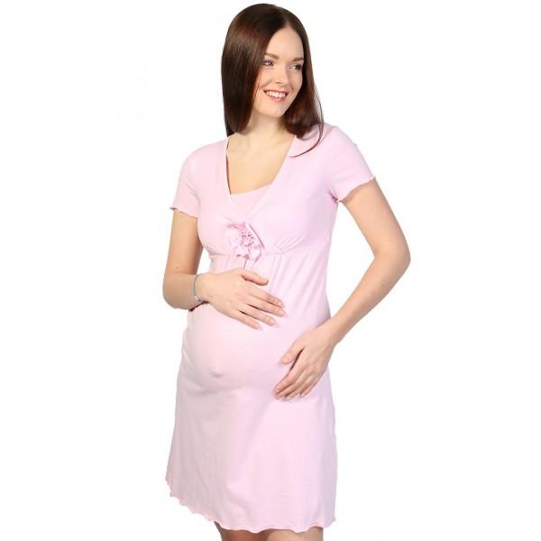 """Ночная сорочка """"Флорида"""" св.розовая для беременных и кормящих"""
