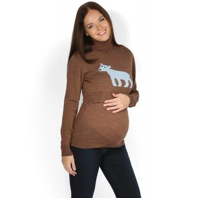 """Джемпер """"Джулия"""" коричневый с медведем для беременных и кормящих"""