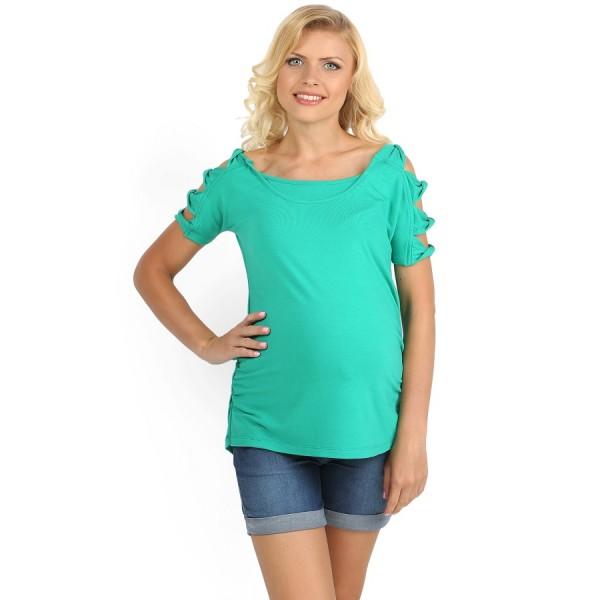 """Футболка """"Фрезия"""" зеленая для беременных и кормящих"""