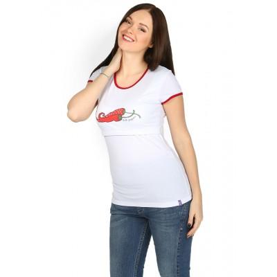 Футболка ФХ03 белая с пецами для беременных и кормящих