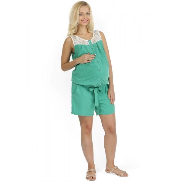 """Комбинезон-шорты """"Алана"""" зеленый для беременных и кормящих"""