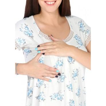 """Ночная сорочка """"НВ10"""" экрю с голубыми цветами для беременных и кормящих"""