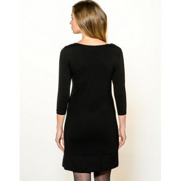 """Платье """"Камила"""" Черное с гусиной лапкой для беременных и кормящих"""