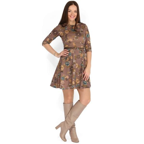 """Платье """"Глорис"""" коричневое с цветами для кормящих"""