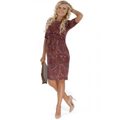 """Платье """"Инес"""" бордовое с пейсли для беременных и кормящих"""