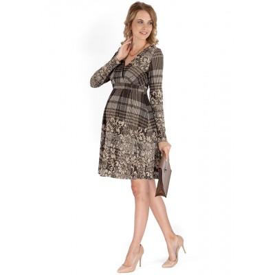 """Платье """"Карисса"""" коричневое в клетку для беременных и кормящих"""