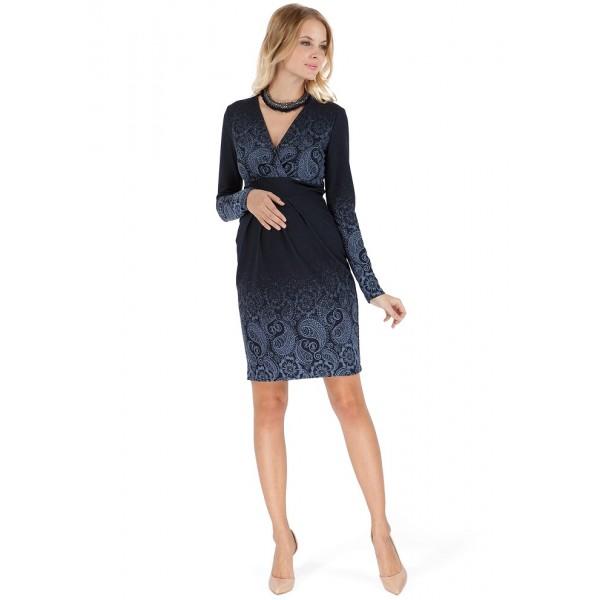 """Платье """"Жозефина"""" синее с пейсли для беременных и кормящих"""