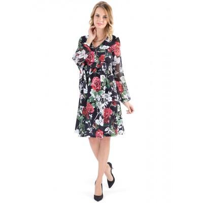 """Платье """"Розанна"""" черное с цветами для беременных и кормящих"""