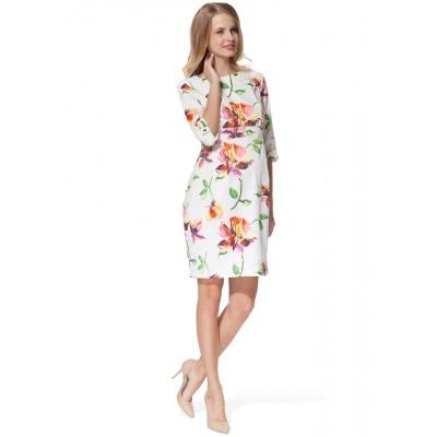 """Платье """"Ольяна"""" белое с розовыми цветами для беременных и кормящих"""