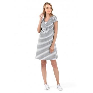 """Платье """"Лариса"""" серый меланж/белый для беременных и кормящих"""