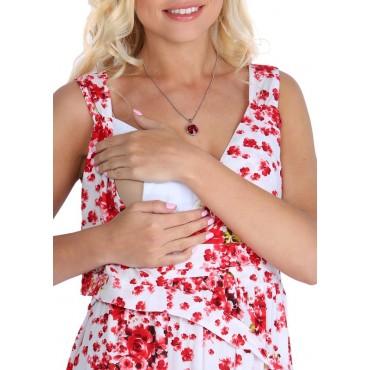"""Сарафан """"Далила"""" Белое с Красными Цветами для беременных и кормящих"""