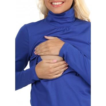 """Водолазка """"Гламур"""" ярко-синяя для беременных и кормящих мам"""