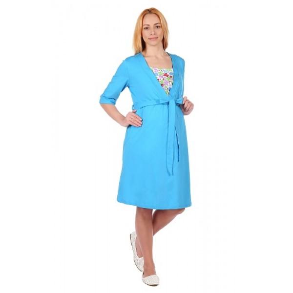 """Комплект """"1306"""" бирюзовый (халат+сорочка) для беременных и кормящих"""