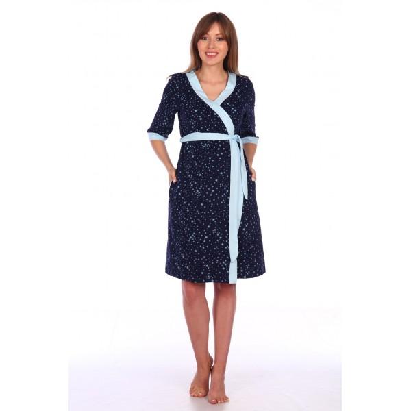 """Комплект """"1302"""" голубой/ синий (халат+сорочка) для беременных и кормящих"""