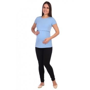 Футболка голубая для беременных и кормления
