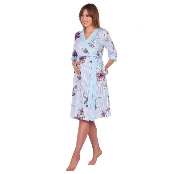 """Комплект """"1305"""" голубой (халат+сорочка) для беременных и кормящих"""