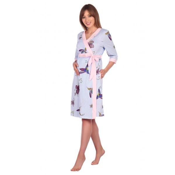 """Комплект """"1305"""" розовый (халат+сорочка) для беременных и кормящих"""