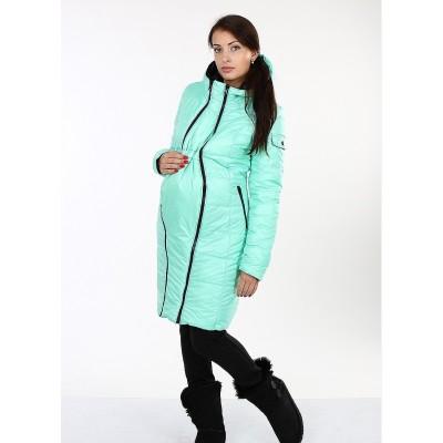"""Куртка еврозима """"Кристин"""" Мята/черный Двусторонняя для беременных"""