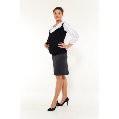 """Юбка классическая """"088"""" Черная для беременных"""