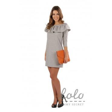 """Платье """"DR033"""" серый меланж для беременных и кормящих"""