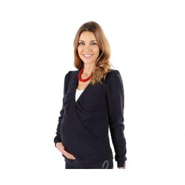 Джемпер с шерстью Tj002.1 синий для беременных и кормящих