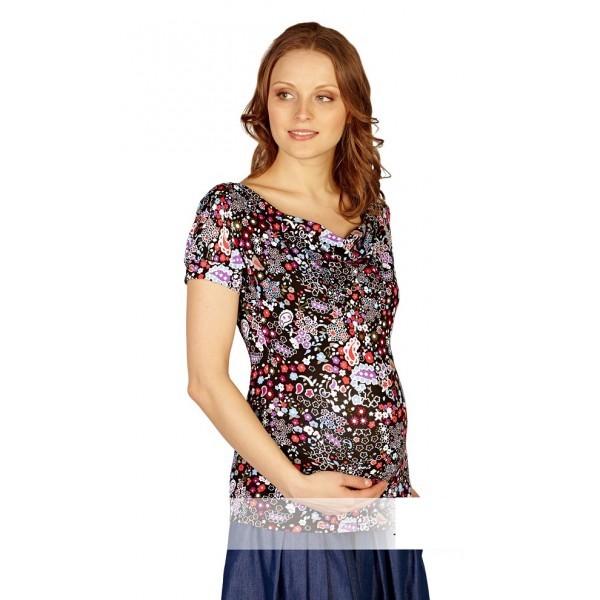 """Блуза """"Огурцы на черном"""" для беременных и кормящих"""