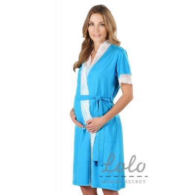 Комплект голубой (халат+Ночная сорочка)