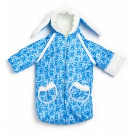 """Конверт-мешочек """"Заяц""""на выписку (зима) Голубой"""