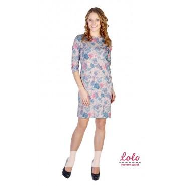 """Платье """"DR027"""" серое с цветочным принтом для беременных"""