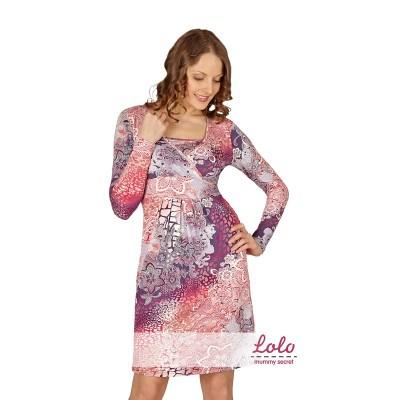 """Платье """"Dr014.4"""" Розово-сиреневое для беременных и кормящих мам"""