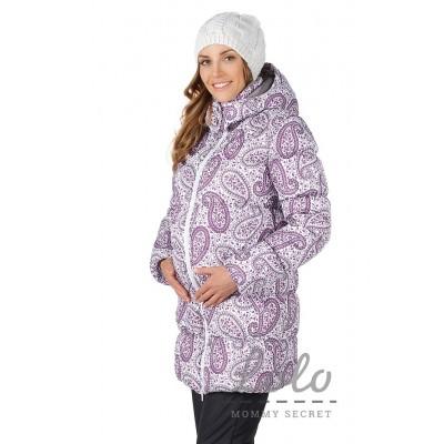 Слингокуртка Фиолетово-серые огурцы 3в1 (с отдельной вставкой для беременных)