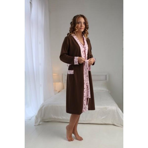"Комплект ""Kelly"" шоколад/бантики (халат+сорочка) для дома и роддома"