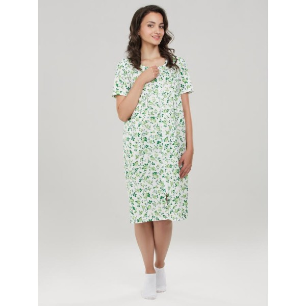 Халат из поплина Lana розы на зеленом для беременных