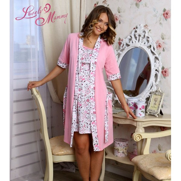 """Комплект """"Jane"""" розовый (халат+Ночная сорочка) для дома и роддома"""