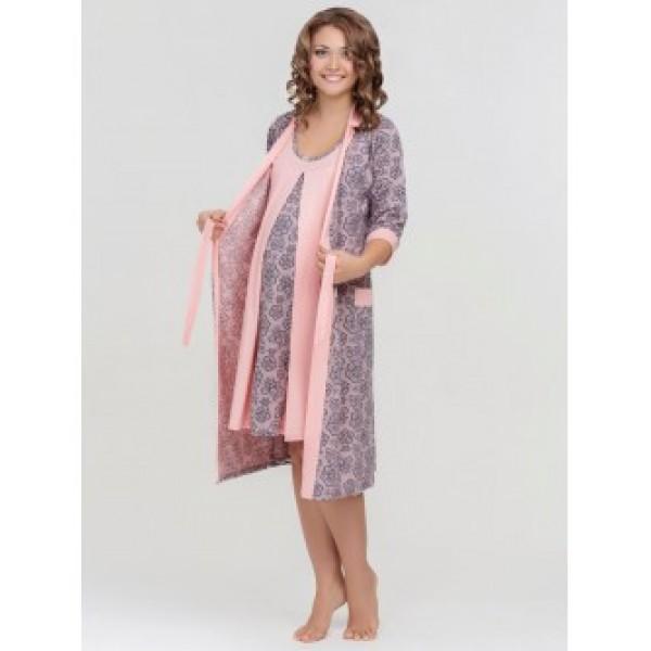 """Комплект """"Nataly"""" персик (халат+Ночная сорочка) для дома и роддома"""