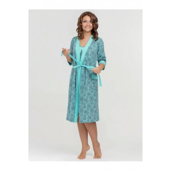 """Комплект """"Nataly"""" ментол (халат+Ночная сорочка) для дома и роддома"""